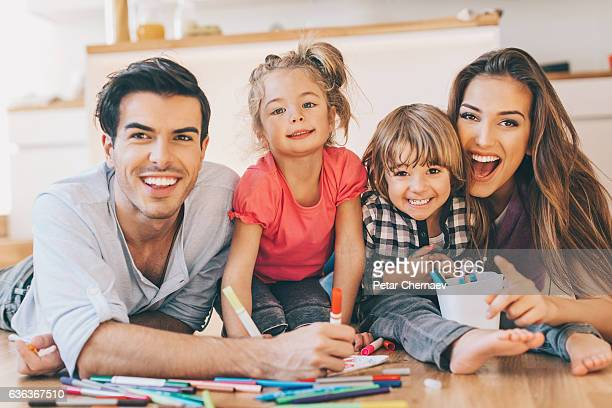 Beautiful young family with two children