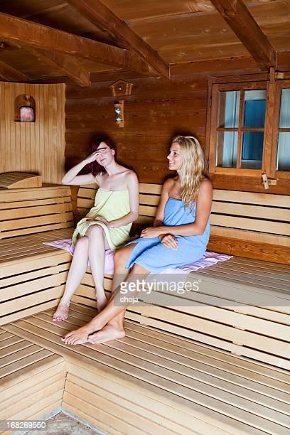 Beautiful young females relaxing in Finnish sauna