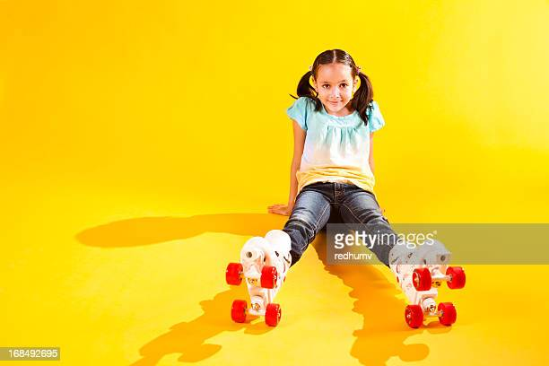 Beautiful Young Girl on Roller Skates