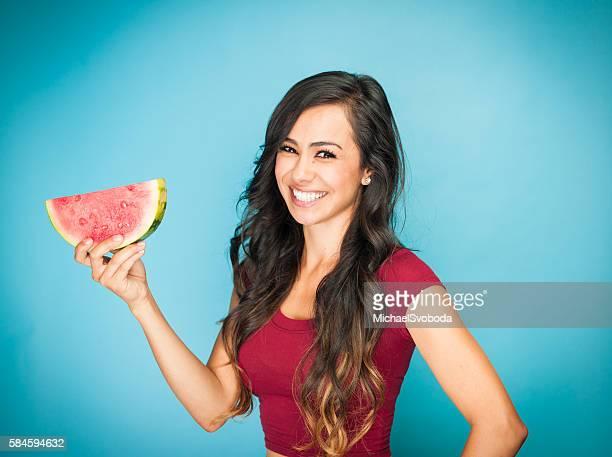 Beautiful Young Hispanic Women With Watermelon