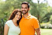 portrait of beautiful young indian couple outdoors