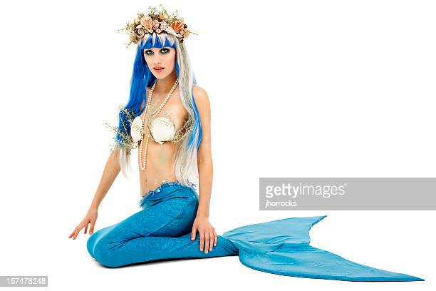 Beautiful Young Mermaid on White