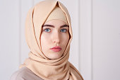 portrait of a beautiful young Muslim woman wearing a hijab on her head, Ufa