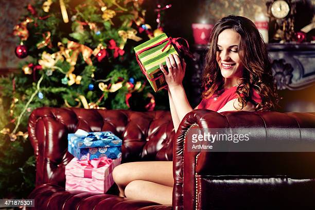 Beautiful young woman in Xmas Eve