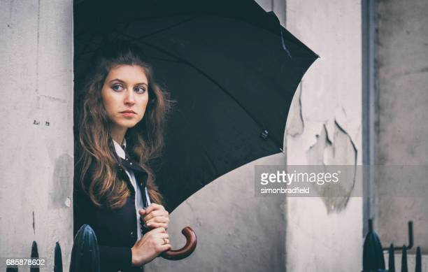 Beautiful Young Woman Outside London Home