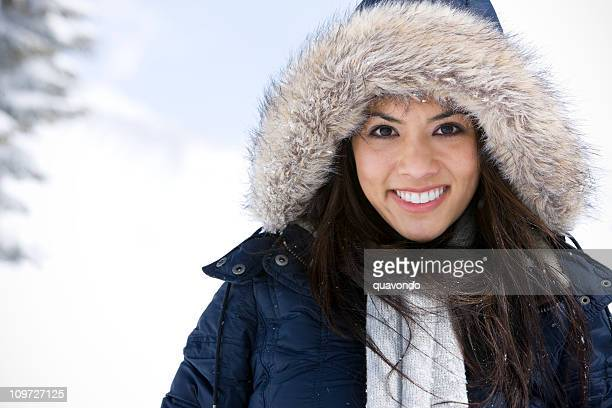 Beautiful Young Woman Portrait in Hooded Snow Jacket, Copy Space