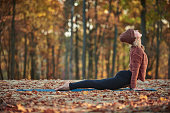 Beautiful young woman practices yoga asana upward facing dog on the wooden deck in the autumn park