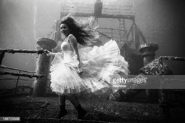 Beautiful Young Woman Standing on Wreck Underwater Old Black White