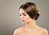 Beautiful Young Woman wearing Diamond Hair Decor