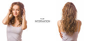 Beautiful young woman wet hair beauty set pattern on white background isolation
