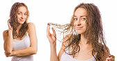 Beautiful young woman wet hair beauty set on white background isolation