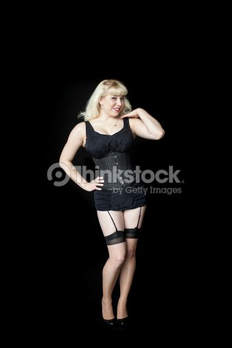 a639931315f Beautiful Young Woman With Blond Hairin Black Corset Stock Photo ...