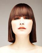 Beautiful Young Woman With Bob Haircut