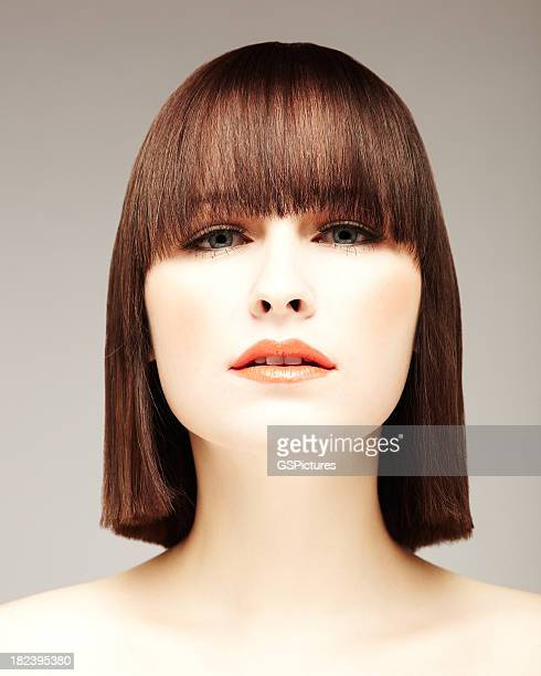 Beautiful Young Woman With Bob Haircut
