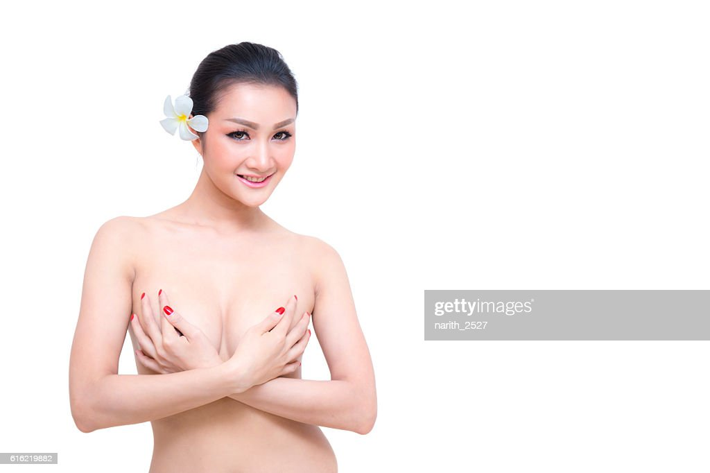 Beautiful young woman with clean skin nude topless breasts. : Stock-Foto