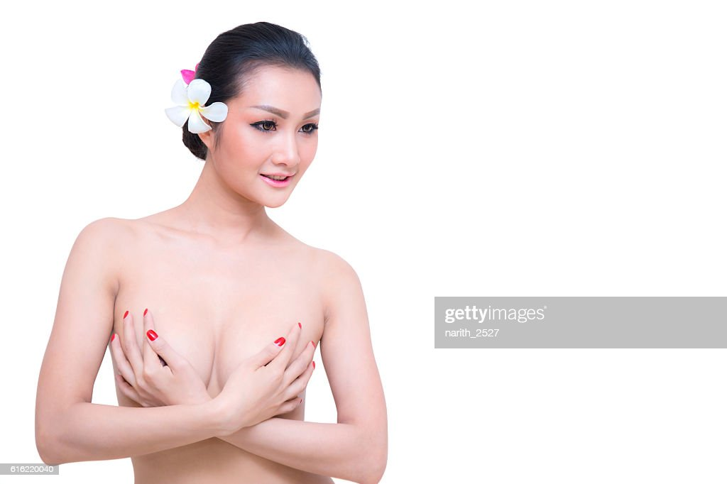 Beautiful young woman with clean skin nude topless breasts. : Stock Photo
