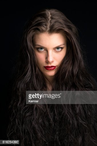 Beautiful Young Woman With Long Brown Hair Portrait Stock
