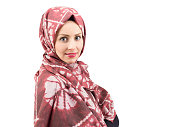 beautiful young women wear red scarf