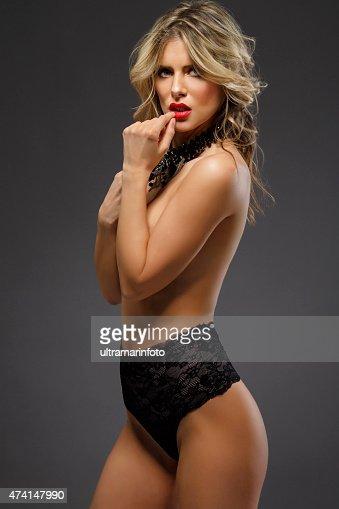 Beautiful Young Women  Wearing black sexy lingerie
