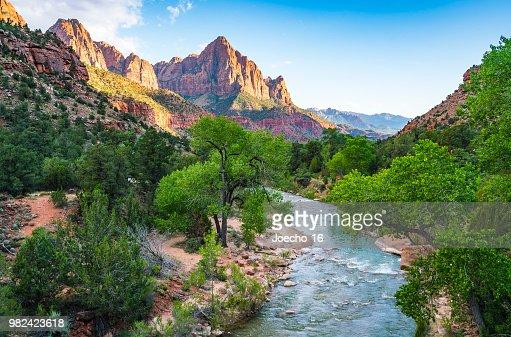 beautiful Zion national park on sunny day,utah,usa. : Stock Photo