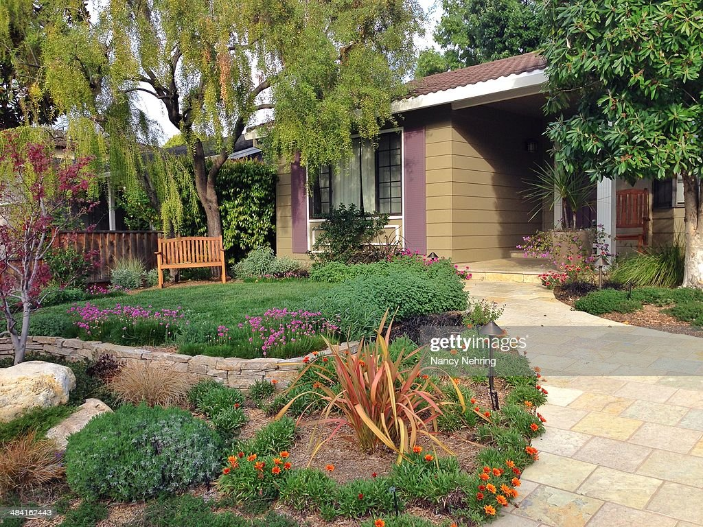 Beautifully landscaped front yard of suburban tract house adds a personal touch to a neighborhood of similar houses House built about 1970 Sunnyvale...