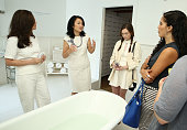Beauty and Lifestyle Expert Luciene Salomone and Senior Vice President General Manager at Dermarche Labs Esther Dong speak during the Dermarche Labs...