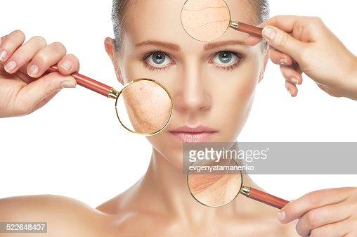 ビューティーコンセプト aging.お肌のアンチエイジング手順、リフレッシュ、リフティング、 : ストックフォト