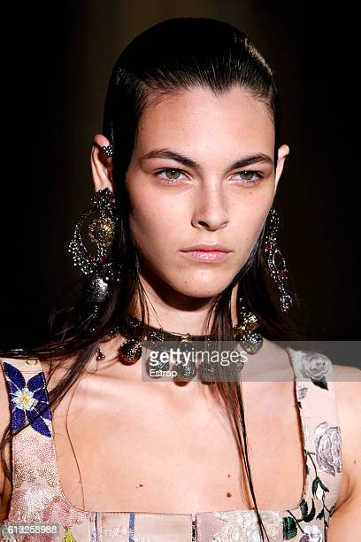 Beauty detail at the Alexander McQueen show as part of the Paris Fashion Week Womenswear Spring/Summer 2017 on October 3 2016 in Paris France