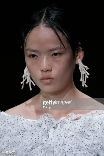 Beauty Detail at the Christopher Kane show during London Fashion Week September 2017 on September 18 2017 in London England