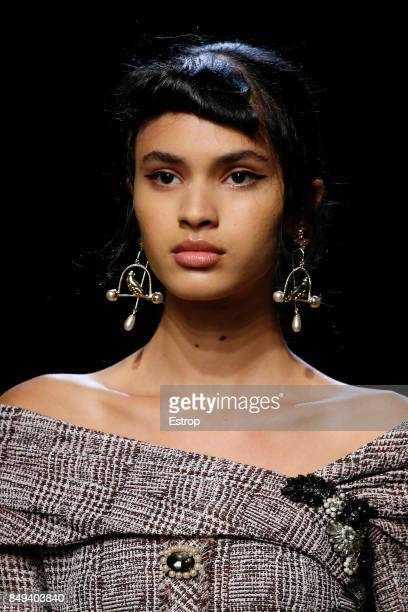 Beauty Detail at the ERDEM show during London Fashion Week September 2017 on September 18 2017 in London England