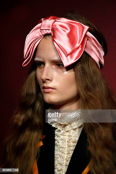 Beauty detail at the Gucci designed by Alessandro Michele show Milan Fashion Week Spring/Summer 2017 on September 21 2016 in Milan Italy