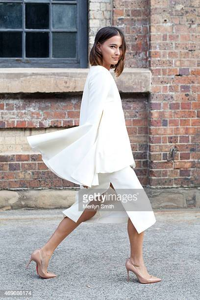 Beauty Editor Eleanor Pendleton wears an Ellery dress Christian Louboutin shoes and a Daily Edited clutch at MercedesBenz Fashion Week Australia 2015...