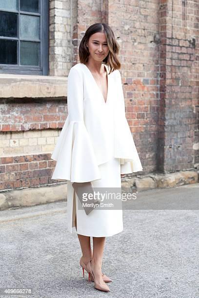 Beauty Editor Eleanor Pendleton wears an Ellery dress Christian Louboutin shoes and a Daily Edited clutch at MercedesBenz Fashion Week Australia 2015...