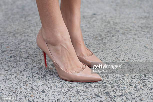 Beauty Editor Eleanor Pendleton wears Christian Louboutin shoes at MercedesBenz Fashion Week Australia 2015 at Carriageworks on April 12 2015 in...