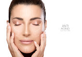 Anti aging treatment and plastic surgery concept. Beautiful young woman with hands on cheeks and eyes closed with a serene expression in a beauty, skincare and spa concepts. Perfect skin. Portrait iso