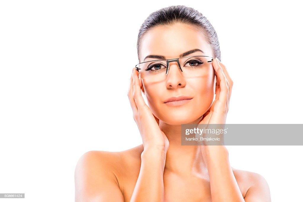 Beauty headshot with eyeglasses : Stock Photo