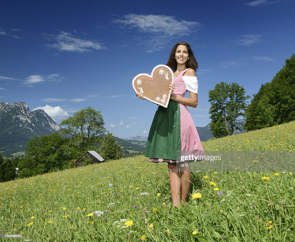 Beauty in Dirndl with Lebkuchen Gingerbread Heart