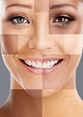 Composite shot of a woman's face made up of different skintones