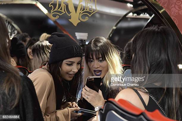 Beauty influencer Sananas and General manager and vice president of Kat Von D Beauty MaiLy Kopatsy attends the Kat Von D Beauty opening weekend with...