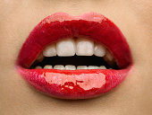 Beauty photo (close-up) of red female lips.