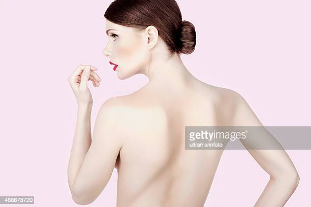 Beauty photo shot  young beautiful woman with glamour  Pink lipstick