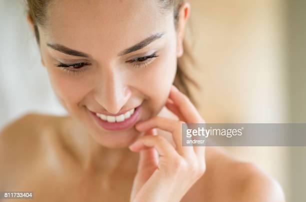 Beauty portrait of a woman in the bathroom