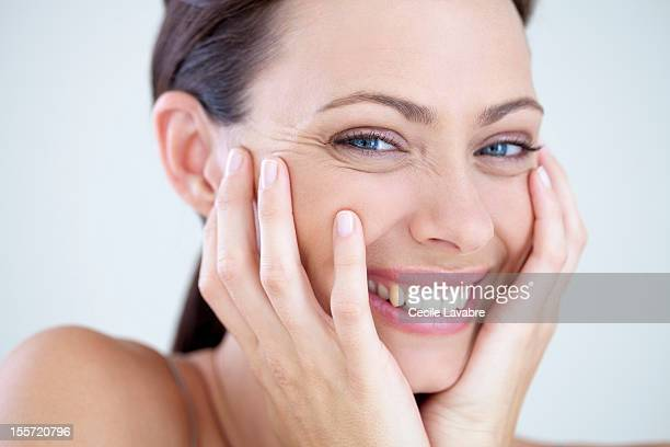 Beauty portrait of a woman laughing