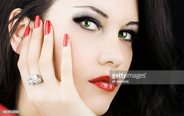 Beauty Portrait of a Woman with red nails