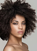 Beauty photo of natural young african american girl with afro hairstyle.