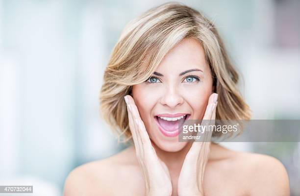 Beauty portrait of an excited woman
