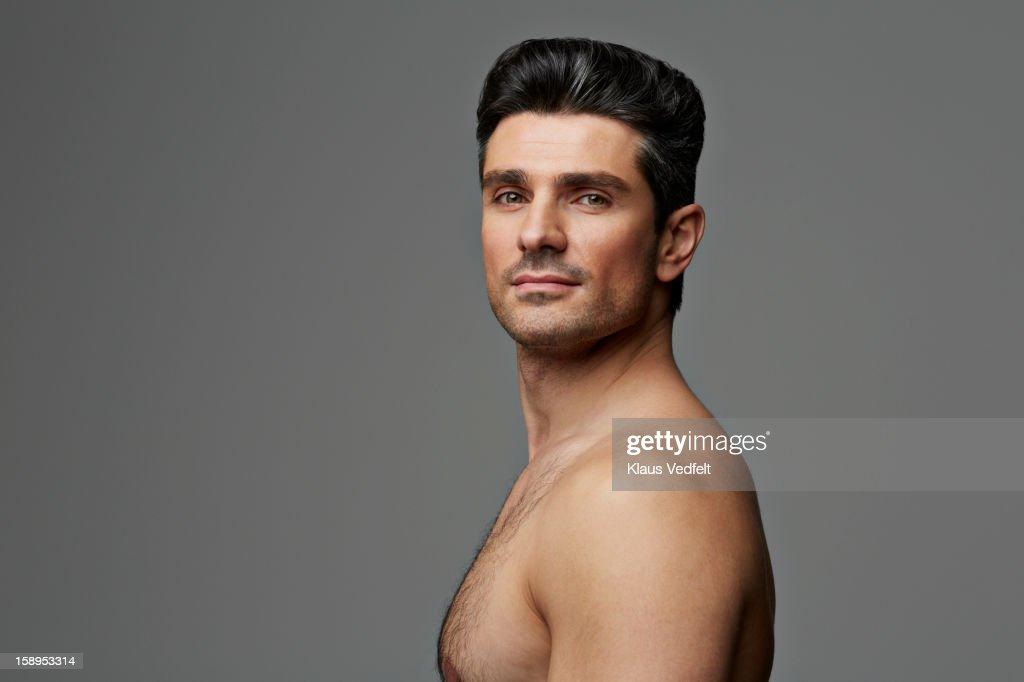 Beauty portrait of man smiling confident : Stock Photo