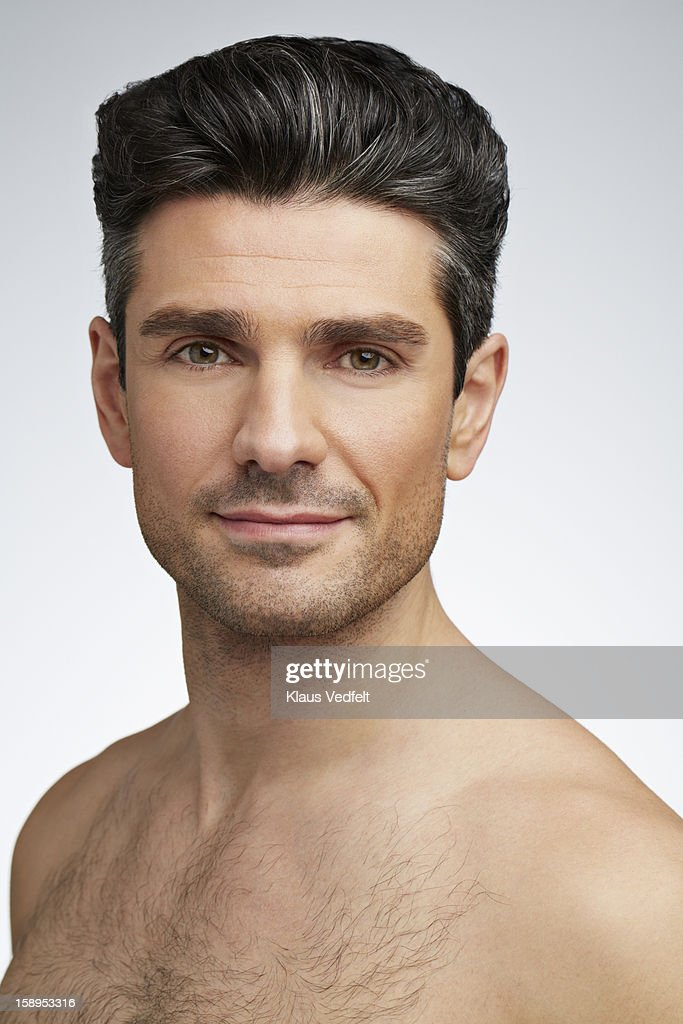Beauty portrait of man smiling to camera : Stock Photo