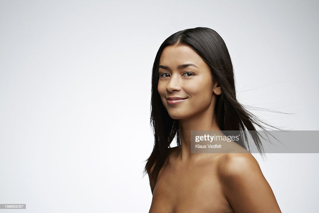 Beauty portrait of woman smiling to camera : Stock Photo