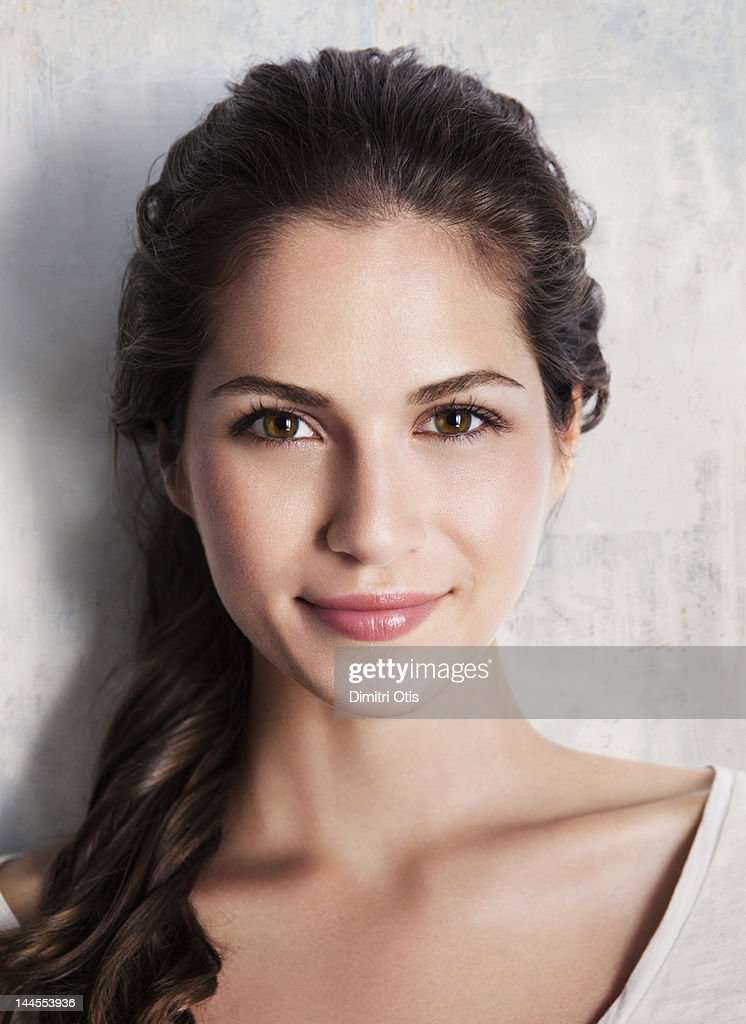 Beauty Portrait Of Young Brunette Woman Smiling Stock
